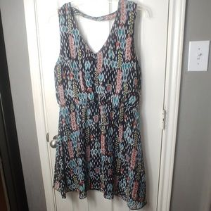 BISOU BISOU SIZE 14 MULTI COLOR SLEEVELESS DRESS
